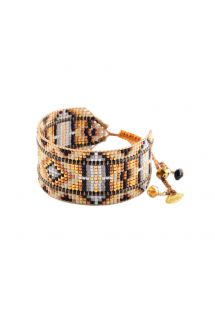 Bracelet in beads and leather, black and bronze - RAYS LE 2113