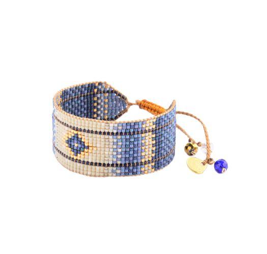 Bredt etnisk armbånd blå/beige perler - RAYS LE M 2890