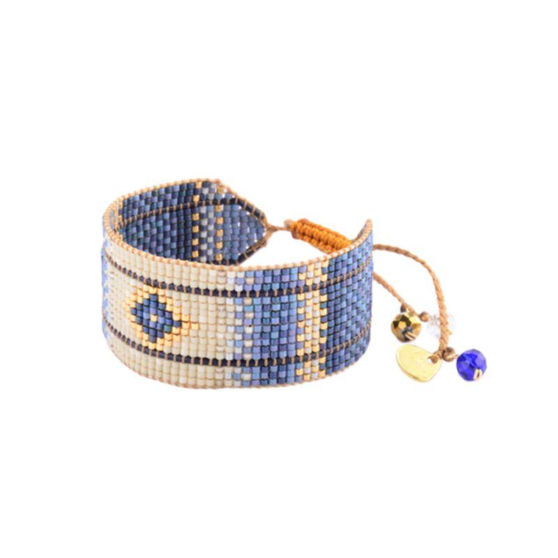 Brett, etniskt armband i blå/beige med pärlor - RAYS LE M 2890