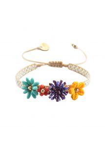 Adjustable bracelet with colorful beaded flowers - RIO FLOWERS-BE-S-7605