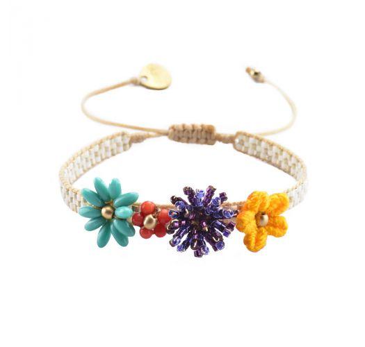 Verstellbares Armband mit bunten Perlenblumen - RIO FLOWERS-BE-S-7605