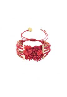 Red bracelet with beads and flowers - Rio Flowers GP M 6547
