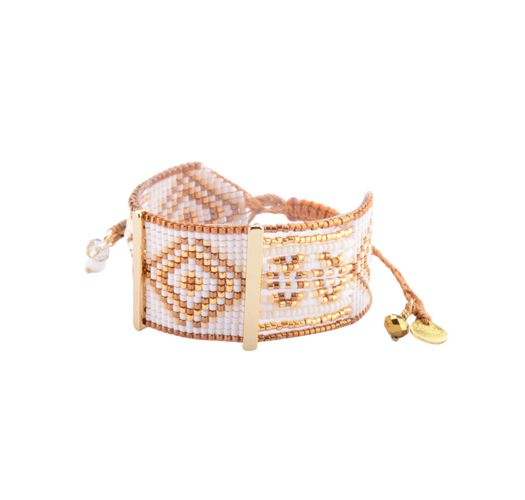 Gold-coloured bead bracelet, ethnic pattern - RIO GP 2877