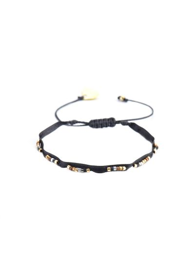 Black adjustable bracelet with ribbon and pearls - RUBAN-BE-XS-7338
