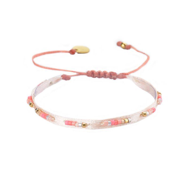 Ljusrosa justerbart armband med band och pärlor - RUBAN-BE-XS-7571