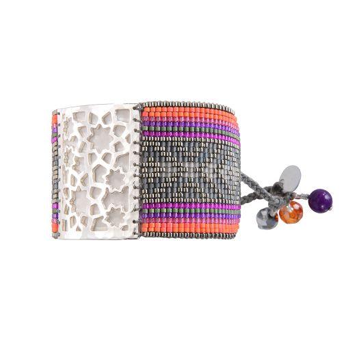 Bracelet STAR FLOWER GREY FUCHSIA PURPLE