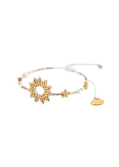 Justerbart armband med sol och guldpärlor - SUN-BE-S-7831