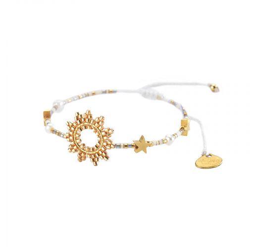 Justerbart armbånd med sol og guldperler - SUN-BE-S-7831