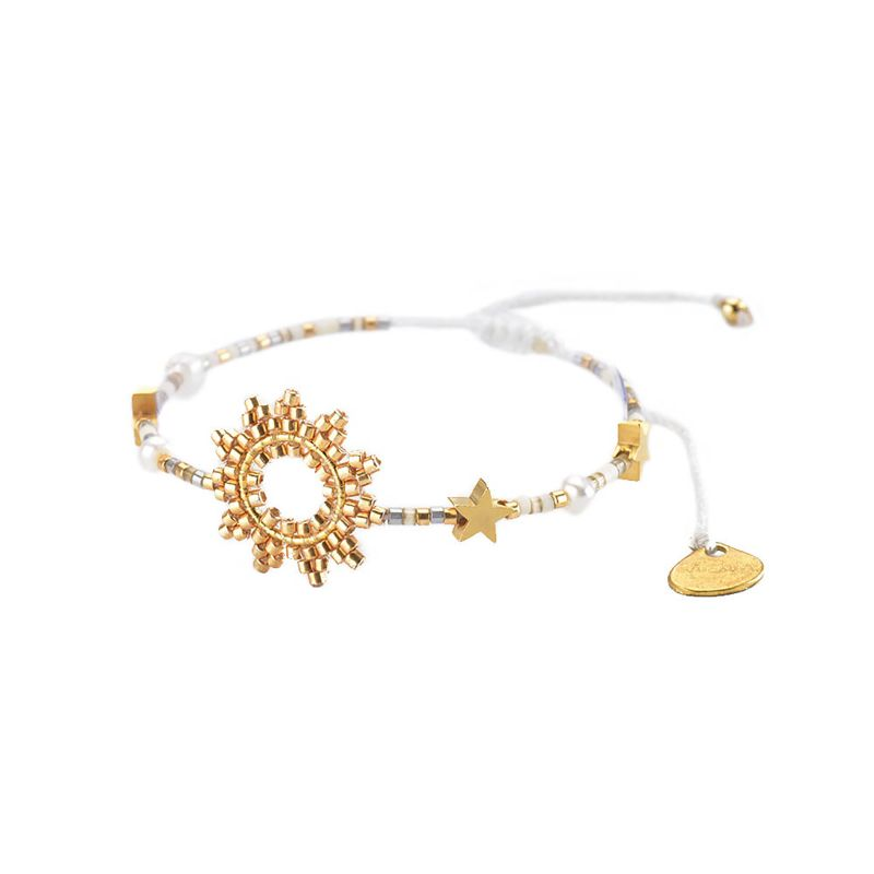 Adjustable bracelet with sun and gold beads - SUN-BE-S-7831