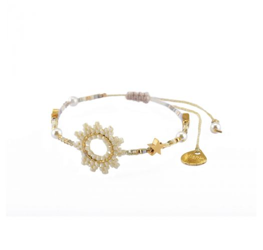 Adjustable bracelet with sun and white beads - SUN-BE-S-7832