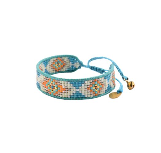Blue woven thread and bead bracelet - TRACK LE 2819