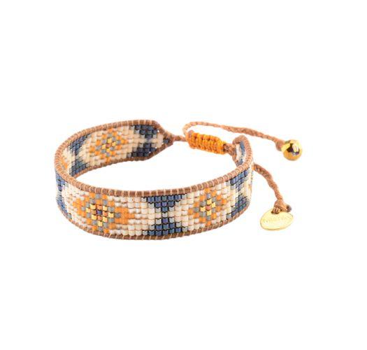 Ethnic style bead bracelet, leather detail - TRACK LE 2896
