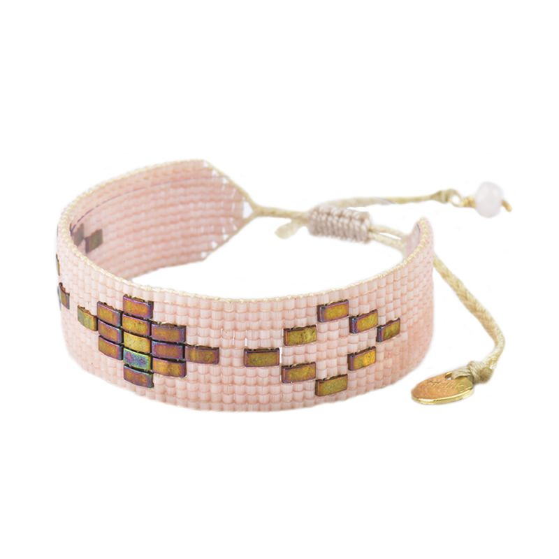 Light pink adjustable bracelet with pearls and geometric design - VIENNA BE-S-8109