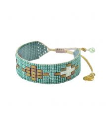 Light green adjustable bracelet with pearls and geometric design - VIENNA BE-S-8132