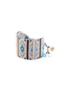 Blue/gold bead cuff with woven details - Yeyi BE 4113L