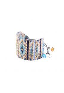 Широкий браслет из голубого/золотистого бисера с ткаными декоративными элементами - Yeyi BE 4113L