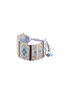 Blue/gold bead bracelet with woven details - Yeyi BE 4113M