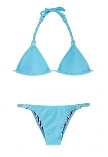 Blue triangle bikini with coloured leather and fixed bottom - EMILIA