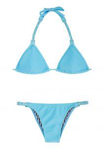 Blauwe driehoekige bikini met gekleurd leer en vast broekje - EMILIA