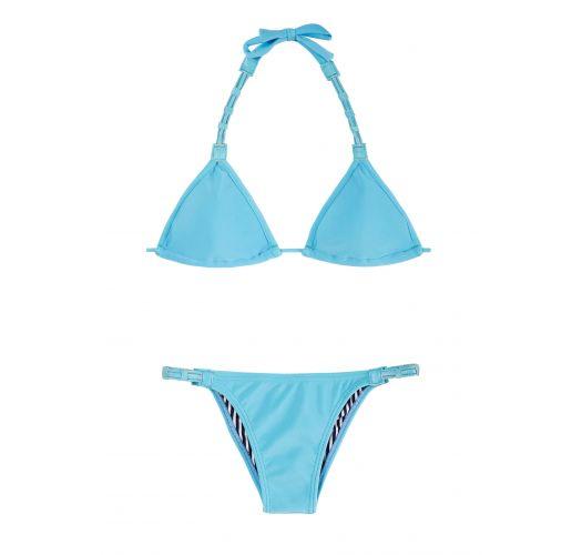 Blue triangle bikini with coloured leather and fixed bottom - EMILIA