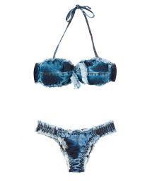 Denim bandeau bikini with low-cut bottoms - BOMBOM DENIM