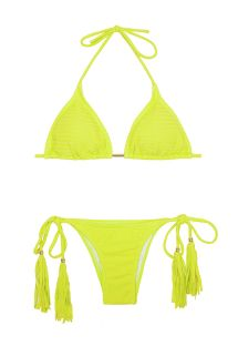 Textured fluorescent yellow Brazilian bikini with tassels - CREPON