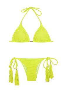 Strukturerad fluorescerande gul Brazilian bikini med tofsar - CREPON