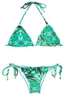 Bikini bas scrunch imprimé bleu vert à plumes - MEL PRISMA