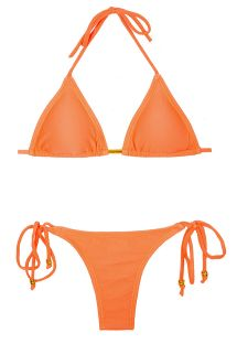 Strukturerad fluorescerande orange triangel bikini, nedredel med band - PAPAYA TEXTURA