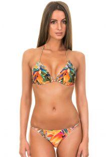 Tropikalny strój kąpielowy z trójkątnym biustonoszem z paskami z efektem klejnocików - ESTRELICIA