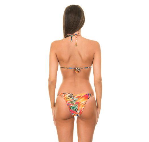 Maillot de bain triangle tropical et lanières bijoux - ESTRELICIA