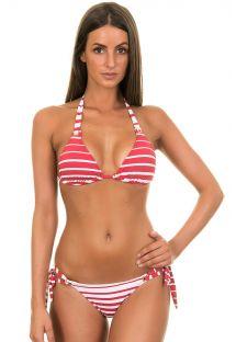White and red striped Brazilian bikini - DOHA