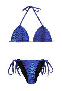 Mavi renkli, kaplan baskılı bırışık bikini - TIGRE LULI AZUL