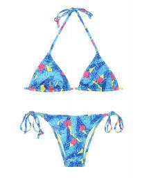 Blue Brazilian bikini with fluorescent coloured details - FLASH HULA