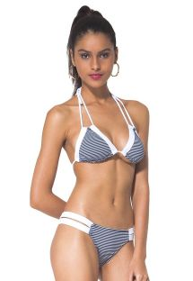 Blue and white striped triangle bikini, bottom with double straps - BIARRITZ MARINE