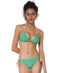 Green triangle bikini, bottom with pink and yellow ties - KAS LEMON