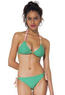 Zöld háromszög bikini, alsó pink és sárga kötővel - KAS LEMON
