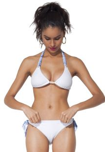 White triangle bikini, blue printed ties - KAS PARIS