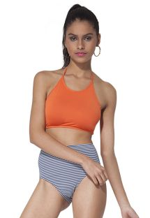 Orange bikini med crop top og højtsiddende stribede bikinitrusser -  NICE MARINE