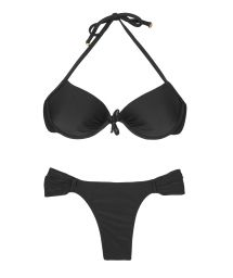 Black push-up balconette bikini top, fixed low-rise bottom - ESSENCIAL BLACK