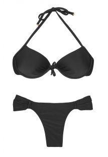 Bikini a balconcino con push up nero, base fissa sgambata - ESSENCIAL BLACK