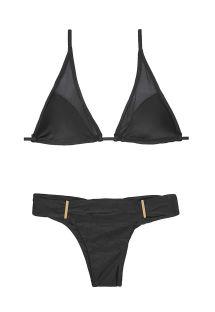 Crni trouglasti bikini, transparentni umetci - TUBE TULE