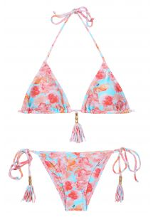 Floral triangle bikini with tassels - TURQUOISE MARGHERITA