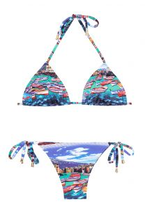 Blue printed Brazilian bikini, sliding triangle top - MINI BARCA