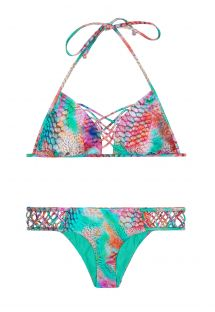 Triangle bikini top and fixed bottom detailed with interlaced strapping - LIBERTAD TORNASOL