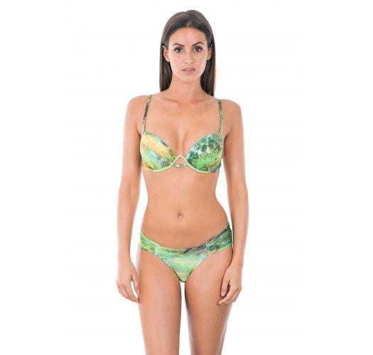 Bikini balconnet push up vert, bas à côtés larges - MELODIE