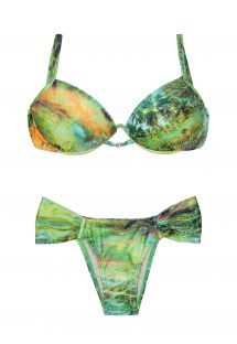 Green balconette push-up bikini, bottom with wide sides - MELODIE