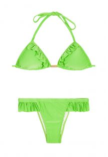 Ljusgrön triangel bikini med fransar, fast nedredel - GIRLY LIGHT GREEN