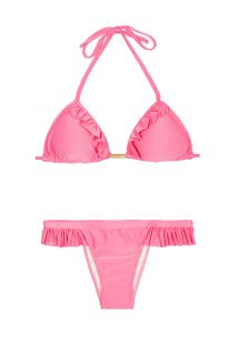 Bikini brésilien rose, triangle et bas à volants - GIRLY PINK