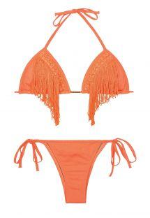 Orange, trekantet bikini med frynser, trusse med lav talje - FRANJAS NECTARINE